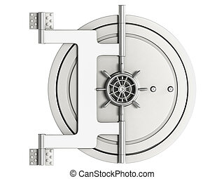 Safe with a mechanical lock isolated on white background