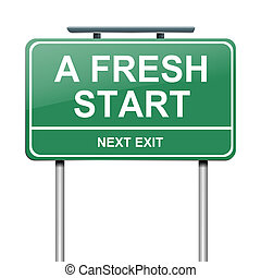 A fresh start - Illustration depicting a green roadsign with...