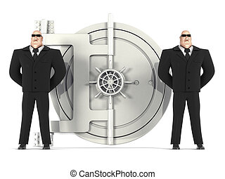 Two guards protect a safe - 3d two guards protect a safe on...