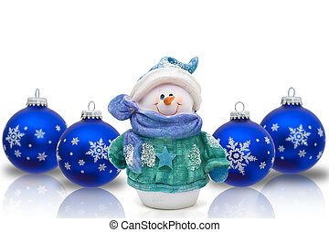 Christmas Time Snowman - Blue Christmas ornaments with...