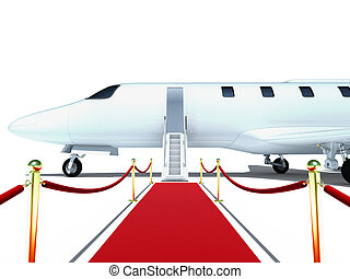 Jet plane - 3d jet plane and red carpet on white background