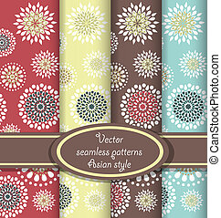 Vector set of floral seamless patterns