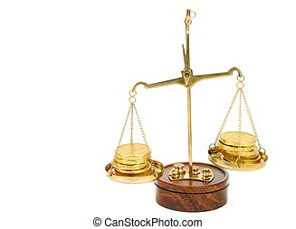 Scale and golden coins