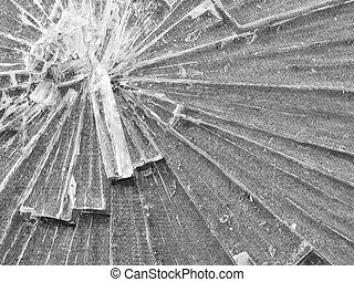 Cracked Glass Macro in Black and White