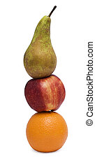 food pyramid - orange apple and pear isolated over white
