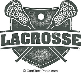 Lacrossse Sport Stamp - Grunge distressed style lacrosse...