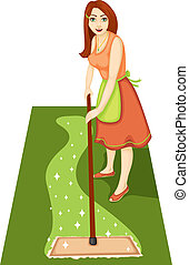 Housewife with a mop - A beautiful woman is a housewife with...