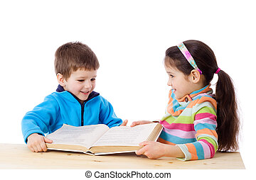 Two kids sharing the book