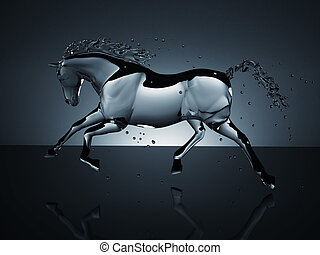 water running horse over white. computer generated