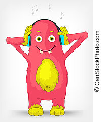 Funny Monster. Listening to Music. - Cartoon Character Funny...