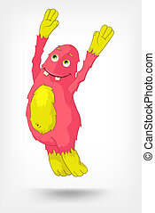 Funny Monster. Jumping. - Cartoon Character Funny Monster...
