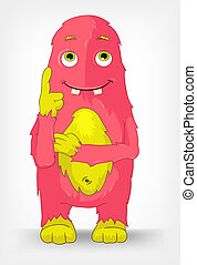 Funny Monster Thinking - Cartoon Character Funny Monster...