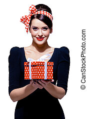 gorgeous brunette with gift box - young gorgeous brunette...