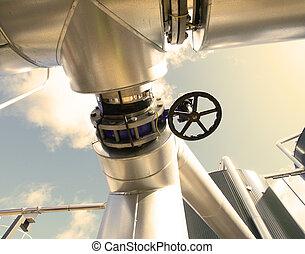 industrial, zona, Acero, tuberías, válvulas,...