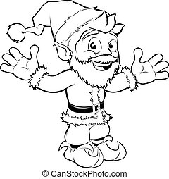 Happy Santa Claus - Monochrome Christmas drawing of happy...