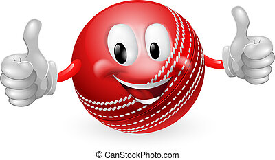 Cricket Ball Man - Illustration of a cute happy cricket ball...