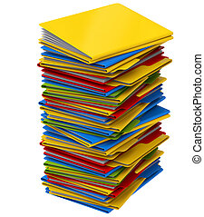 a pile of multi-colored folders with documents - a pile of...