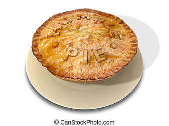 Humble Pie - A cooked puff pastry pie on a plate with the...