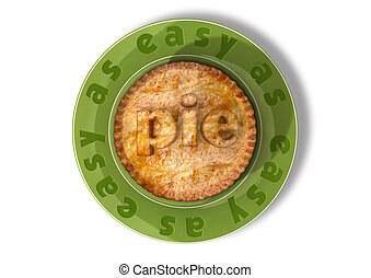 Easy As Pie - A top view of a pie on a green plate with the...