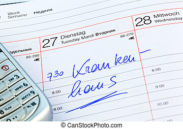entry in calendar: hospital - an appointment is entered on a...