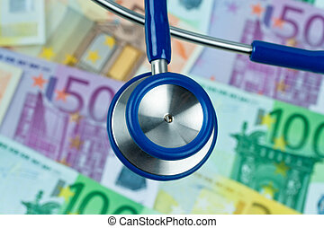 many euro bank notes with stethoscope. cost contrueces -...