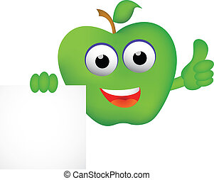 Funny apple cartoon with blank sign