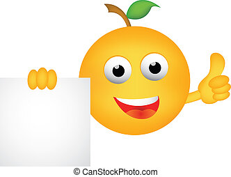 Funny orange cartoon with blank sig