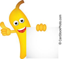 Funny banana cartoon with blank sig