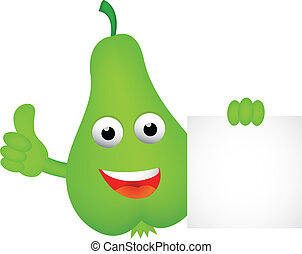 Funny pear cartoon with blank sign