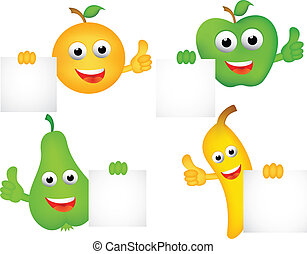 Funny cartoon fruits with blank sig