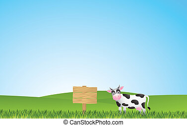 cows in the yard with blank sign