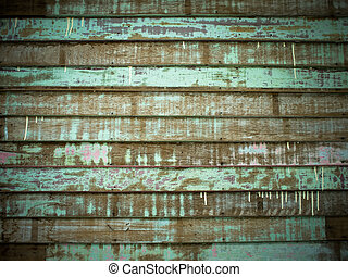 Green Old Cracked wood Plank wall Horizontal