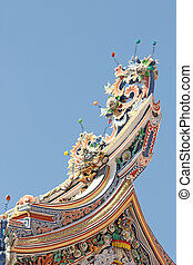 Gable apex in chinese temple Thailand