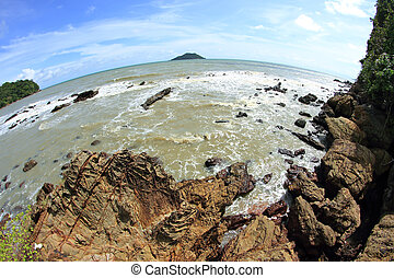 Beautiful seascape. Sea and rock . Nature composition. 8mm...