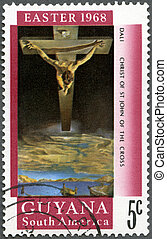 GUYANA - CIRCA 1968: A stamp printed in Guyana shows Christ...