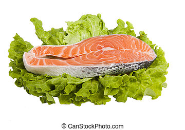 slice of fresh fish, Norwegian salmon red