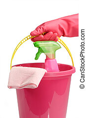 Bucket with spray cleaner - Cleaning Equipment isolated on...