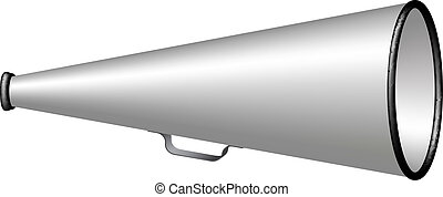 Silver vintage megaphone isolated on white background