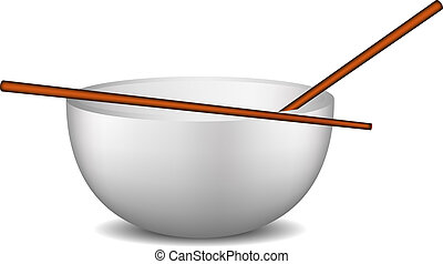 Small bowl with wooden sticks on white background