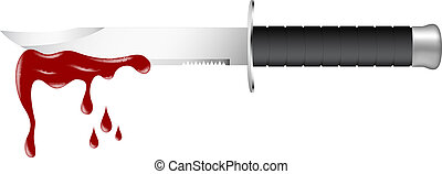 Knife with blood isolated on white background