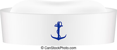 Sailor cap with blue anchor isolated on white background
