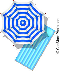 Beach umbrella and air mattress - Blue and white striped...