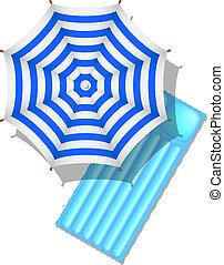 Beach umbrella and air mattress - Blue and white striped...
