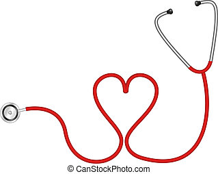 Stethoscope in shape of heart isolated on white background