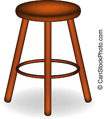 Retro wooden stool with shadow on white background