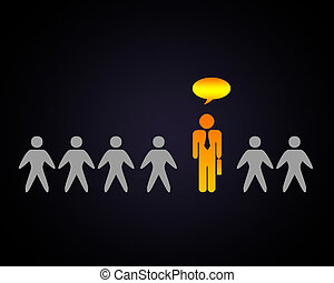 Person with a solution - Human figure with symbol of...