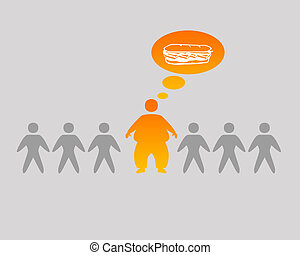 Overweight person - A overweight person in the row of other...