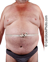 Fat man - Elderly male body with obesitas measuring his...
