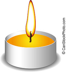 Candle with flame fire on white background