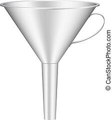 Funnel in metal design isolated on white background